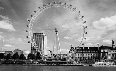 Art Print featuring the photograph London Eye Head-on Bw by Matt Malloy