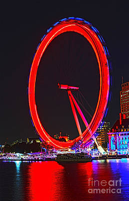 London Eye Photograph - London Eye Red by Jasna Buncic