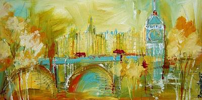 London Skyline Painting - London Gold 3 by Irina Rumyantseva