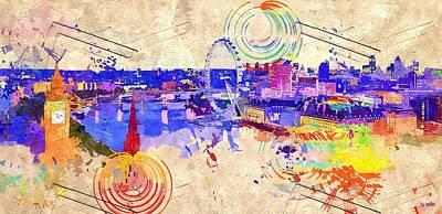 London Eye Painting - London Grunge by Daniel Janda