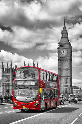 Old Buildings Digital Art - London - Houses Of Parliament And Red Bus by Melanie Viola