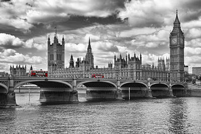 Clock Photograph - London - Houses Of Parliament And Red Buses by Melanie Viola