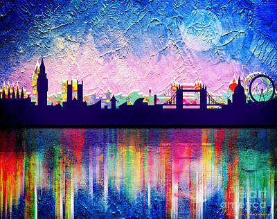 Big Moon Painting - London In Blue  by Mark Ashkenazi