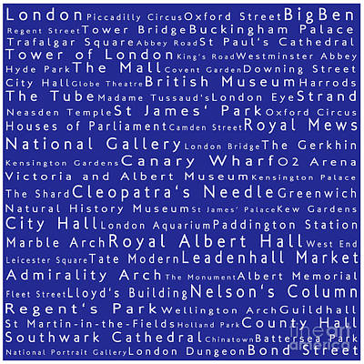 London In Words Blue Art Print by Sabine Jacobs