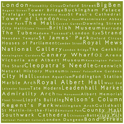 London In Words Olive Art Print by Sabine Jacobs