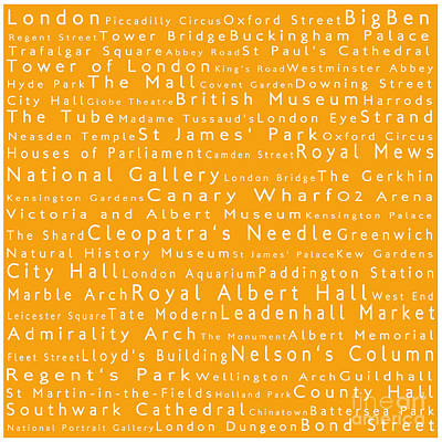 London In Words Orange Art Print by Sabine Jacobs