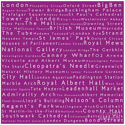 London In Words Pink Art Print by Sabine Jacobs