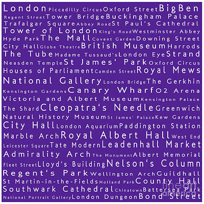 London In Words Purple Art Print by Sabine Jacobs