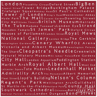 London In Words Red Art Print by Sabine Jacobs