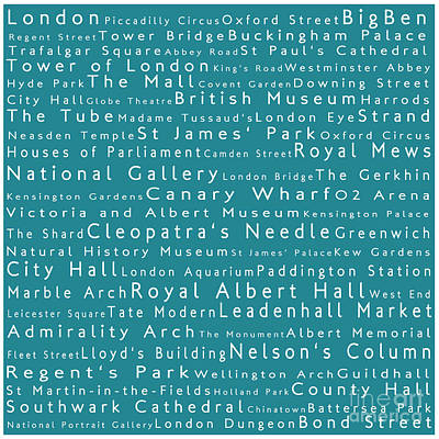 London In Words Teal Art Print by Sabine Jacobs
