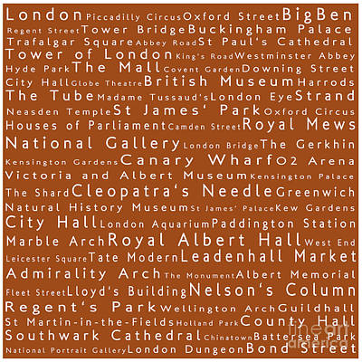 London In Words Toffee Art Print by Sabine Jacobs