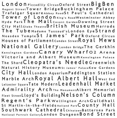 Tower Of London Digital Art - London In Words White by Sabine Jacobs