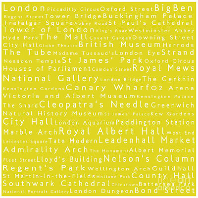 London In Words Yellow Art Print by Sabine Jacobs