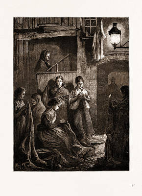Vintage Lamp Drawing - London Life At The East End Sack-making By The Light by Litz Collection