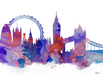 London Eye Painting - London by Watercolor Girl