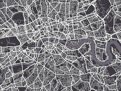 Street Digital Art - London Map Art by Michael Tompsett