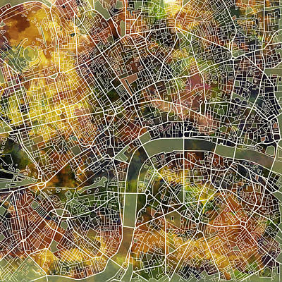 Painting - London Map Brown by Bekim Art