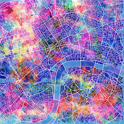 Painting - London Map Pink by Bekim Art