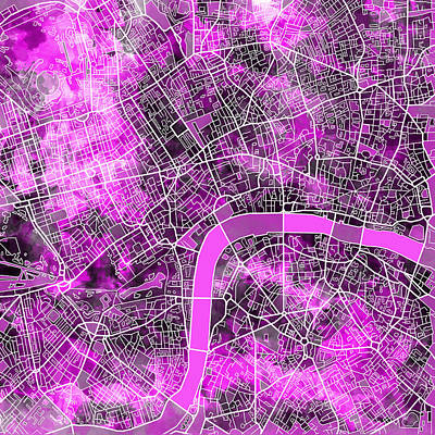 Painting - London Map Purple by Bekim Art