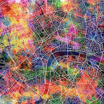 Painting - London Map Watercolor by Bekim Art