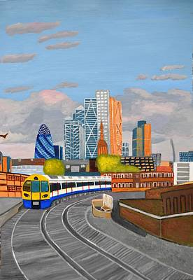 Art Print featuring the painting London Overland Train-hoxton Station by Magdalena Frohnsdorff