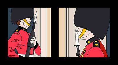 Buckingham Palace Digital Art - London Palace Guards by Baruch Y Lebovits