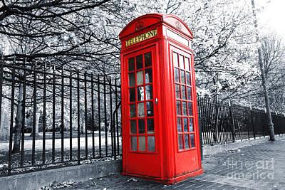 Old Street Scenes Photograph - London Phone Box by Simon Kayne