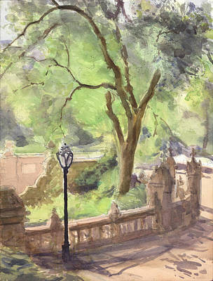 Park Scene Painting - London Plane Bethesda Terrace by Walter Lynn Mosley