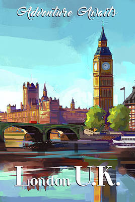 Signed Poster Painting - London by P.s