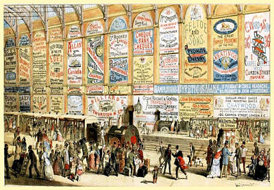 1874 Mixed Media - London Railway Station - Large by Charlie Ross