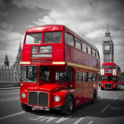 London Red Buses On Westminster Bridge Print by Melanie Viola