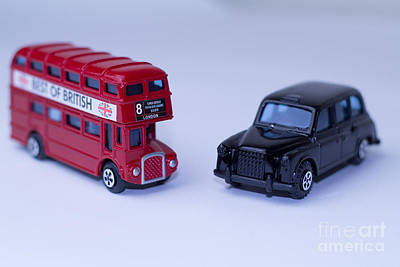 Design Photograph - London Routemaster Bus And London Black Cab by Claire  Doherty