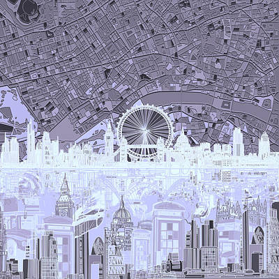 London Eye Painting - London Skyline Abstract 10 by Bekim Art