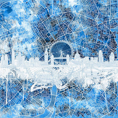 London Skyline Painting - London Skyline Abstract 13 by Bekim Art