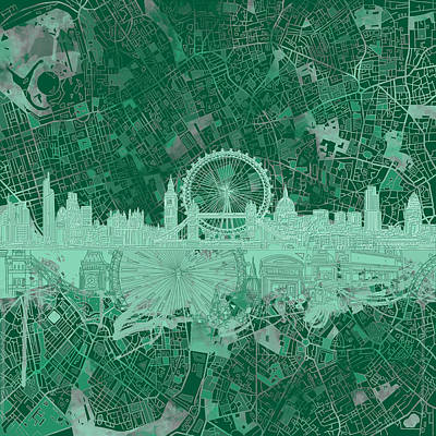 London Skyline Painting - London Skyline Abstract 2 by Bekim Art