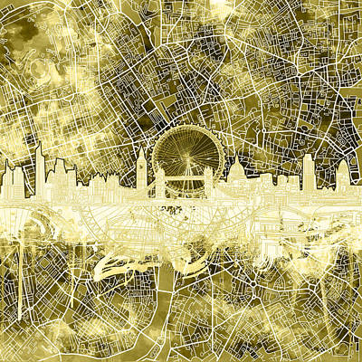 London Skyline Painting - London Skyline Abstract 3 by Bekim Art