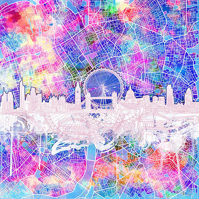 Painting - London Skyline Abstract 4 by Bekim Art