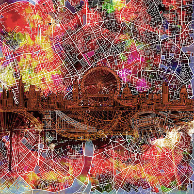 London Eye Painting - London Skyline Abstract 5 by Bekim Art