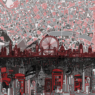 London Eye Painting - London Skyline Abstract 6 by Bekim Art