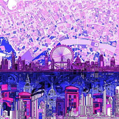 Painting - London Skyline Abstract 9 by Bekim Art