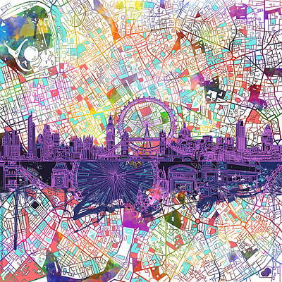 London Skyline Painting - London Skyline Abstract by Bekim Art