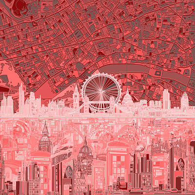 London Skyline Painting - London Skyline Abstract Red by Bekim Art