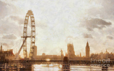 London Eye Painting - London Skyline At Dusk 01 by Pixel  Chimp
