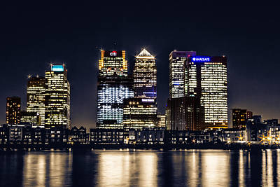 Skyscapers Photograph - London Skyline At Night by Ian Hufton