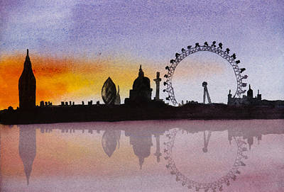 London Skyline Paintings - London Skyline at Sunset by Donna Walsh