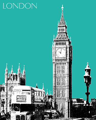 London Skyline Big Ben - Teal Print by DB Artist