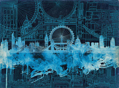 Painting - London Skyline Blue Waterolor by Bekim Art