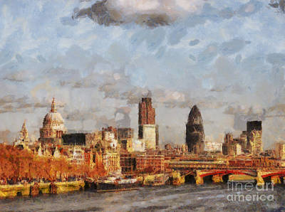 London Skyline Painting - London Skyline From The River  by Pixel Chimp