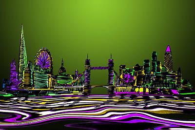 London Skyline Painting - London Skyline Green by Artist Singh