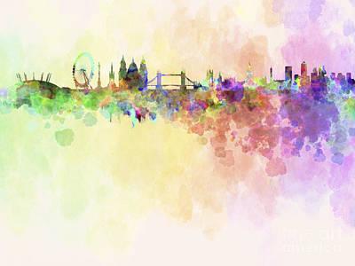 Splatter Digital Art - London Skyline In Watercolour Background by Pablo Romero